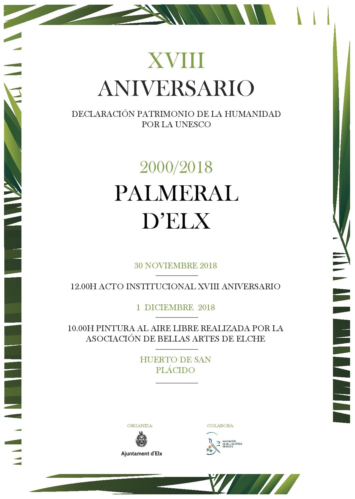 XVIII Aniversario de la declaración del Palmeral como Patrimonio de la Humanidad